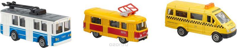 "Набор машинок ТехноПарк ""Городской транспорт"", трамвай, маршрутка, троллейбус, 3 шт"