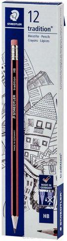 Набор чернографитовых карандашей Staedtler Tradition 112 HB, с ластиком, 12 шт