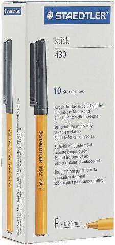 Набор шариковых ручек Staedtler Stick 430 F, цвет чернил: черный, 10 шт