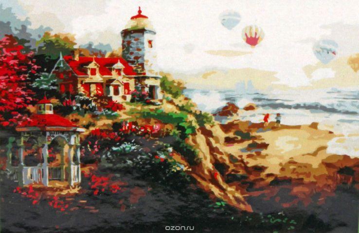 """Картина по номерам Рыжий кот """"Воздушные шары над морем"""", ST050, 50 х 40 см"""