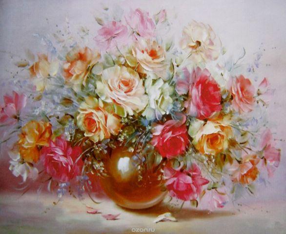 "Картина по номерам Школа талантов ""Розы в вазе"", 2467686, 30 х 40 см"