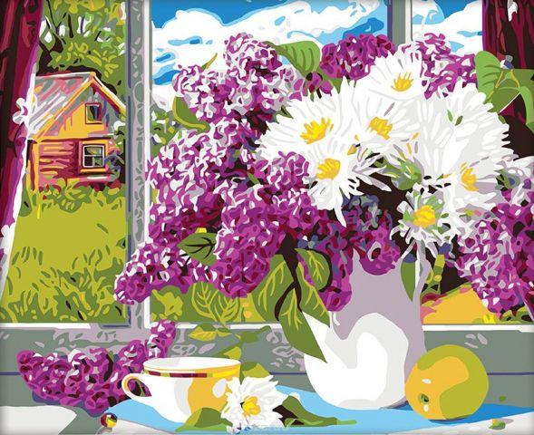 "Картина по номерам Школа талантов ""Сирень на окне"", 2711888, 40 х 50 см"
