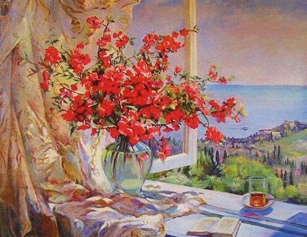"Картина по номерам Школа талантов ""Букет у окна"", 3462715, 30 х 40 см"