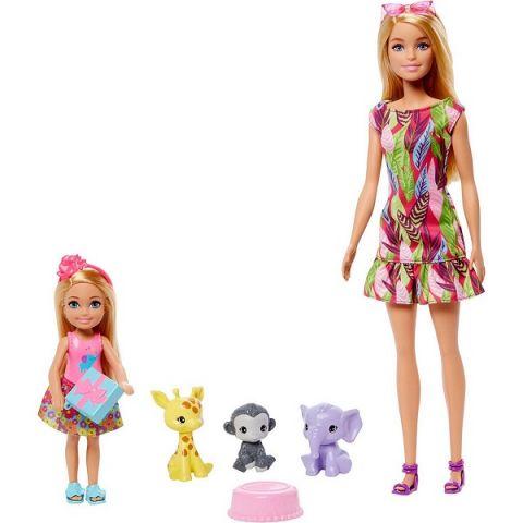 Mattel Barbie GTM82 Барби Игровой Набор кукла Барби и Челси с питомцами жираф, слон и обезьянка