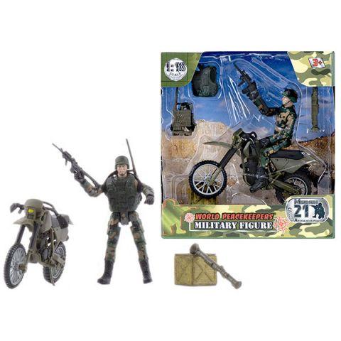 """World Peacekeepers MC77014 Игровой набор """"WP. Мотоциклетные войска"""" 1:18, 1 фигурка"""