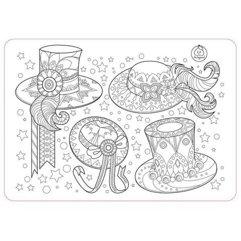 """ЯиГрушка 12005YG Коврик-раскраска маленький """"Аксессуары для девочек - Шляпы"""" размер 48х33,5 см"""