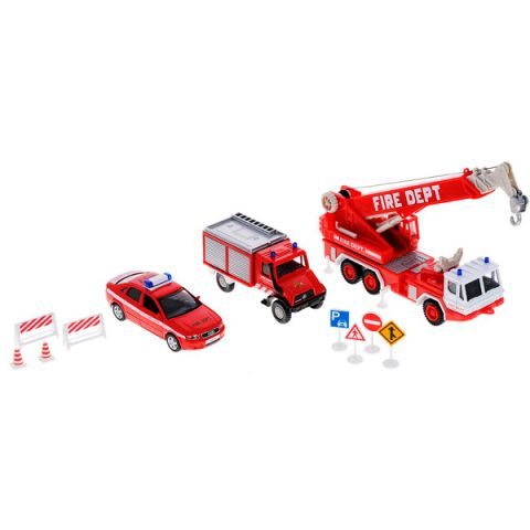 """Welly 99610-10B Велли Игровой набор машин """"Пожарная служба"""" 10 шт"""