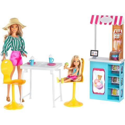 Mattel Barbie GBK87 Барби Игровой набор Магазин кафе мороженое с куклой Барби и Челси