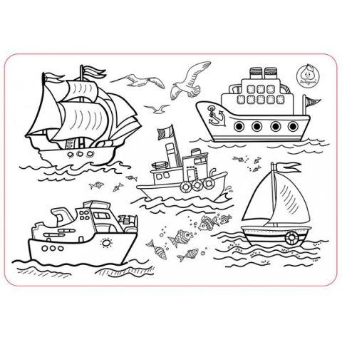 """ЯиГрушка 59899 Коврик-раскраска маленький """"Кораблики"""" размер 48х33,5 см"""