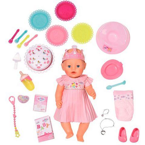 Zapf Creation Baby born 825-129 Бэби Борн Кукла Интерактивная Нарядная с тортом, 43 см