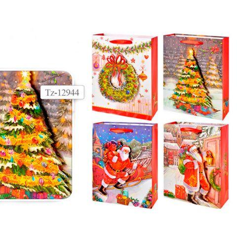 Пакет подарочный новогодний бумажный TZ12944 с 3D аппликацией, 4 вида (24*18*8 см) (в ассортименте)