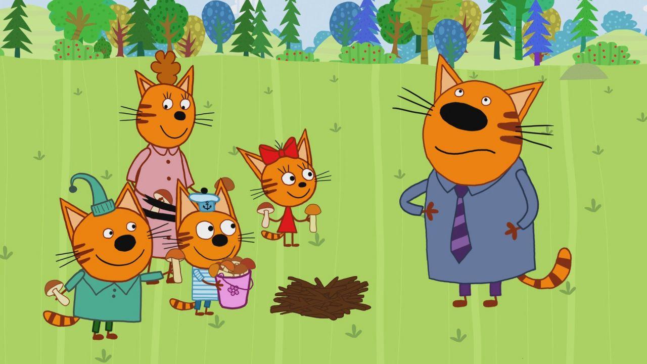 Фотошоп марту, открытка с тремя котами из мультика